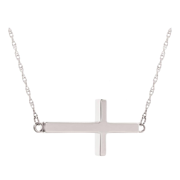 SS Sideway Cross Necklace
